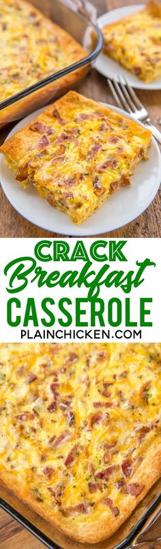 We are totally addicted to this easy breakfast casserole! Crescent rolls, bacon, cheddar, ranch dressing, eggs and milk. Can make ahead of time and refrigerate overnight. We made this two days in a row! Breakfast Sausage Seasoning, Sausage Breakfast, Breakfast For Dinner, Breakfast Dishes, Wedding Breakfast, Breakfast Ideas, Sausage Quiche, Brunch Casserole, Breakfast Casserole Easy