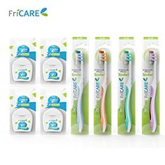 FriCARE Manual Toothbrush Full Head Adult Size (4 Counts, Assorted Colors) + 50M Mint Waxed Dental Floss… Review