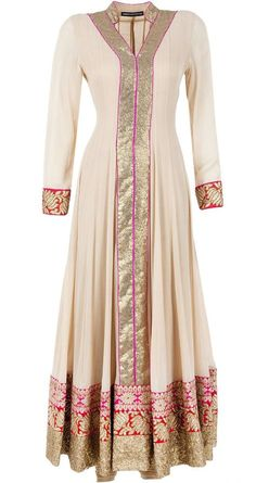 Aneesh Agarwaal presents Beige 3 borders kurta set available only at Pernia's Pop-Up Shop Kurta Designs, Blouse Designs, Indian Gowns, Indian Attire, Hijab Fashion 2016, Fashion Dresses, Pakistani Outfits, Indian Outfits, Hijab Styles