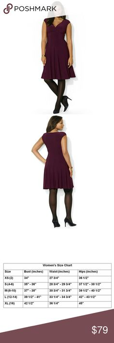 New! Ralph Lauren Flared Jersey Dress V-neckline Rendered in fluid matte jersey with a chic crossover neckline and cap sleeves, Lauren Ralph Lauren's elegant dress is finished with a flirty paneled skirt for modern, feminine appeal.  Color: Raisin Purple  Brand New With Tags   Crossover V-neckline with subtle shirring.  Flouncy paneled skirt extends from the empire waist.  Pull-on styling.  Slightly padded cap sleeves.  Approximately 39 inches from shoulder tohem.  Polyester/elastane…