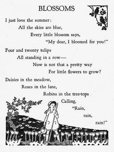 """""""Sing, Little Birdie"""" by Gertrude E. Heath, 1928 by the Saalfield Publishing Company. Black and white illustrations by Helene Nyce, color bookplates by Jan Cragin. Spring Poem, Summer Poems, Nursery Rhymes Poems, Kids Poems, Finger Plays, Poems Beautiful, Pretty Words, Happy Thoughts, Poetry Quotes"""