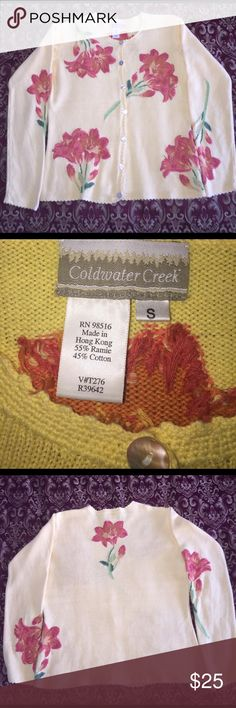 Coldwater Creek Cardigan Sweater Size S The embroidery is real and beautifully done. This beautiful piece also has mother-of-pearl buttons & scalloped edges all around. Excellent condition!  This sweater measures 23 1/2 inches from shoulder to hem & 19 1/2 inches across the bottom. This cardigan is eligible for free shipping. Simply offer $7 less and I'll accept!  Thanks so much for visiting my closet!!  💐 Coldwater Creek Sweaters Cardigans