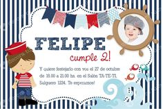 Tarjetas de cumpleaños de marinero - Imagui Sailing Party, Navy Birthday, Sailor Theme, Merry Christmas, Birthdays, Baby Shower, Kids, Pictures, Crafts