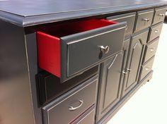 Black and red dresser.