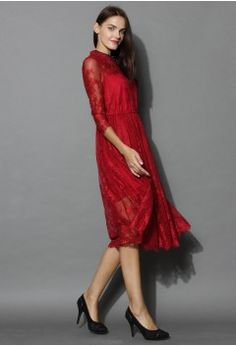 Exotic Red Lace Dress with Jewel Neckline - Dress - Retro, Indie and Unique Fashion