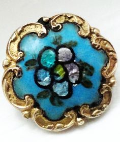 Vintage aqua enamel and gilt border button