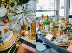 Blue Glass Design Calligraphy Menu on Gold Charger. As seen on Green Wedding Shoes. Styling by L. Brook Events + Flora Fauna Designs. Photo by Emily Delamater.