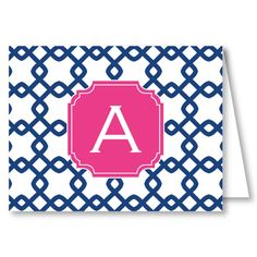 """Pea Pod Paper and Gifts Fresh Monogram """"A"""" Folded Note Cards - Initial Notes - Thank You Notes - Stationery"""