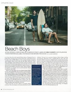 Mike and Alex Faherty in Gotham Magazine