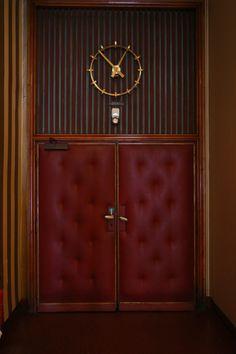 Film and Photo Shoot Locations in Austria: Screening Room Door with Clock, Filmcasino
