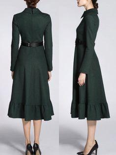 Green Wool Dress Long Sleeves Winter Dress Elegant Vintage Style Fashion Midi Dress Office Lady Beautiful Dress Original Design on Etsy, $149.99