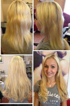 Haarverlängerung mit europäischem Schnitthaar. Nur 60 Extensions