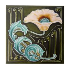 AN124 Art Nouveau Reproduction Antique Tile