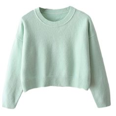 Ladies Casual Fancy Long Sleeves Cropped Pullover Sweater ($25) ❤ liked on Polyvore featuring tops, sweaters, shirts, jumpers, turquoise, long sleeve crop top, green crop top, turquoise shirt, long sleeve shirts and dressy shirts