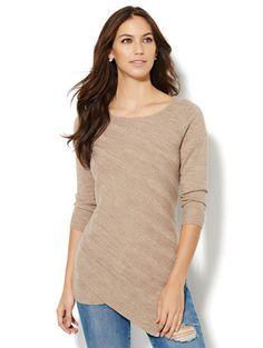 a2144644811812 Asymmetrical-Hem Metallic Sweater