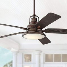 Enjoy exclusive for 60 Wind Sea Industrial Outdoor Ceiling Fan Light LED Dimmable Remote Control Oil Brushed Bronze Wet Rated Patio Porch - Casa Vieja online - Favortrendyfashion Ceiling Fans Without Lights, Best Ceiling Fans, Outdoor Ceiling Fans, Outdoor Fans, Outdoor Rooms, Ceiling Fan In Kitchen, Farmhouse Ceiling Fans, Living Room Ceiling Fan, Kitchen Fan