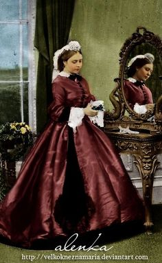 Princess Royal Victoria wears a conical crinoline or crinolette dress in this Mayall image