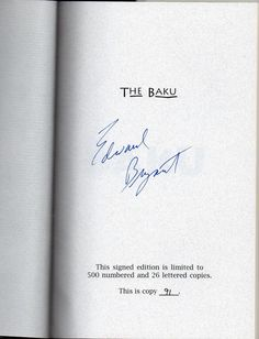 THE BAKU: TALES OF THE NUCLEAR AGE by Edward Bryant Signed limited