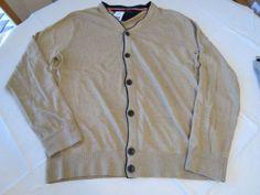 Men's Tommy Hilfiger long sleeve sweater Button Up XXL 7842623 Grain Heather 296