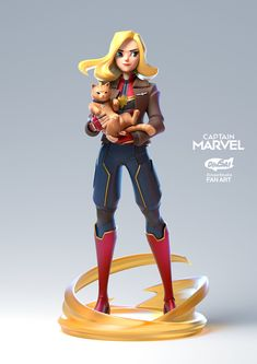 Kontorn Boonyanate is an artist from Thailand whose action figure style has me feeling all gloomy about Disney Infinity again. Female Character Design, Character Modeling, 3d Character, Marvel Girls, Marvel Heroes, Marvel Avengers, Ms Marvel, Marvel Comics, Diesel Punk