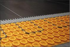 Orange waffle sub floor to heat flooring Bath Trends, Bathroom Trends, Waffles, Flooring, Technology, Orange, Tech, Hardwood Floor, Tecnologia