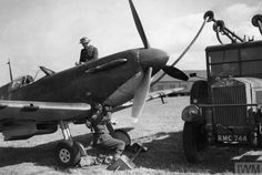 """Spitfire Mk I LZ-N is refuelled at RAF Gravesend in September The aircraft was assigned to S/L Rupert HA """"Lucky"""" Leigh of No 66 Squadron RAF and was downed in combat over Westerham on 17 October, carrying P/O Hugh W Reilley to his death. Ww2 Aircraft, Military Aircraft, Hawker Hurricane, The Spitfires, Ww2 Pictures, Supermarine Spitfire, Battle Of Britain, Royal Air Force, Luftwaffe"""