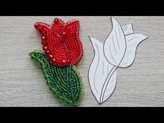 Tulip Brooch 🌷 - YouTube Ribbon Embroidery Tutorial, Embroidery Works, Bead Embroidery Jewelry, Beaded Embroidery, Diy Belt For Dresses, Beaded Jewelry Designs, Beading Techniques, Brooches Handmade, Beaded Brooch