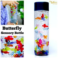 Calm down sensory bottles like this butterfly bottle can be used in many ways. They can be used for safe no mess sensory play, a science teaching aid, a time out tool, and to help children (and adults) calm down and unwind. They are also the perfect way for babies and toddlers to safely investigate items without the risk of choking on them. DIY Calm Down Jar | Discovery Bottle