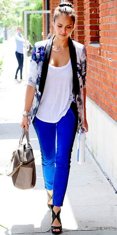 Floral Stylestalker blazer over an ATM by Anthony Thomas Melillo tank and tuxedo-stripe Current/Elliott skinnies and a Tod's bag.