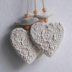 Porcelain Heart and Bird hanging