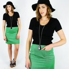vtg 80s 60s 70s mod hippie KELLY GRN WOOL POCKET high waist PENCIL mini skirt S $24.00