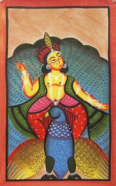 Kartik (Kalighat Painting - Water Color on Paper - Unframed) Bengali Art, Safari, Kali Mata, Indian Paintings, Art Paintings, Madhubani Painting, India Art, Tribal Art, Deities