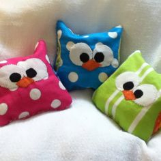 """""""Owie Owls"""" - rice bags I made to be put in freezer for all my grand kids  bumps and bruises."""