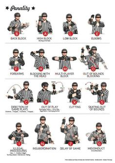 16 Official hand signals for Roller Derby penalties. Roller Derby Skates, Roller Derby Girls, Roller Skating, Roller Rink, Derby Names, Track Roller, Derby Day, Girls Rules, Referee