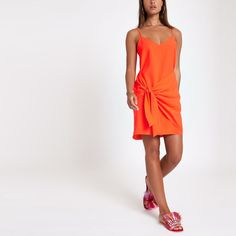 Orange tie front cami slip dress - Slip & Cami Dresses - Dresses - women