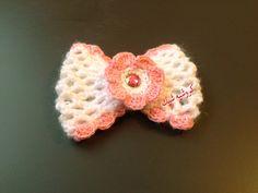 How to Crochet a Bow كروشيه ربطة للشعر او لتزيين الملابس