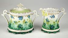 RS Prussia Creamer and Sugar Bowl Fine China Germany Porcelain Pair of German or