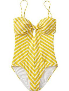 Adorable yellow striped maillot. Old Navy has a lot of great, cheap one-piece swimsuits every season.