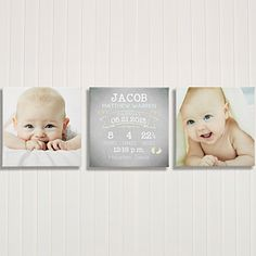 Awww!!! This personalized new baby canvas art print set is ADORABLE! I love the soft design and colors ... it would be the perfect way to show off those cute new born photos!