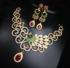 Designer CZ Peacock Neckless | Buy Online jewellery | Elegant Fashion Wear