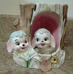 Vintage Rubens Originals Talking Ceramic Baby Lambs Planter #342 with Tag Japan