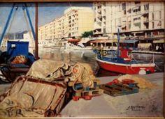 """Artiste BELTRAN José """" Le port de Toulon"""" Huile sur Toile"""