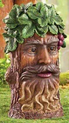 "Man W Beard Tree Head Statue Vineyard Leaf Grapes Sculpture Yard Decoration 12""H in Home & Garden, Yard, Garden & Outdoor Living, Garden Décor | eBay"