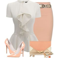 """Vety pretty, but without the jewelry.""""Peach Skirt and Ivory Top"""" by daiscat on. Business Attire, Business Outfits, Business Fashion, Work Fashion, Fashion Looks, Fashion Outfits, Womens Fashion, Fashion Trends, White Fashion"""