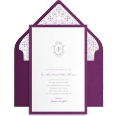 A layered border of warm reddish purple paper gives this otherwise traditional monogrammed wedding invitation a complex, modern, and oh-so-fashionable feel. The Victorian-inspired design of the monogram frame prints in charcoal ink.