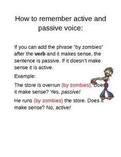 Teach students to remember active and passive voice WITH ZOMBIES!