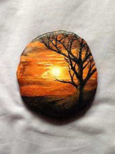 Tree in sunset painting- beach slate