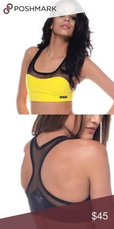 "Public Myth mesh teaser sports bra Yellow and black sports bra will add actual pics. It's the first image shown that is for sale but wanted to show how back is constructed it's a racer back. Made of 86 % Supplex Nylon / 14% Spandex  Wash Cold, Hang Dry  Features:  -Double lined mesh liner -Features pockets for Bra Inserts -""Miracle fabric"" known to shave pounds off your appearance, by tightening, lifting and smoothing out this is not lulu but tagged for exposure lululemon athletica Tops Crop…"