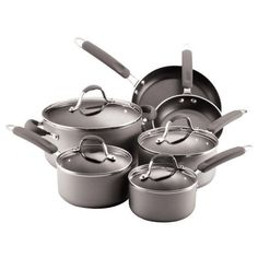 Farberware Enhanced Aluminum Nonstick 10-Piece Cookware Set, Silver ** Want additional info? Click on the image.