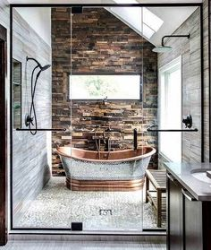 A rustic and modern bathroom () Magda of Euro Style Interior Design based in Chicago sent along some photos of a bathroom design she recently completed and it is stunning! Such incredible, warm textures. The scoop: My clients wanted Bad Inspiration, Bathroom Inspiration, Bathroom Inspo, Bathroom Trends, Furniture Inspiration, Dream Bathrooms, Beautiful Bathrooms, Small Bathrooms, Luxurious Bathrooms